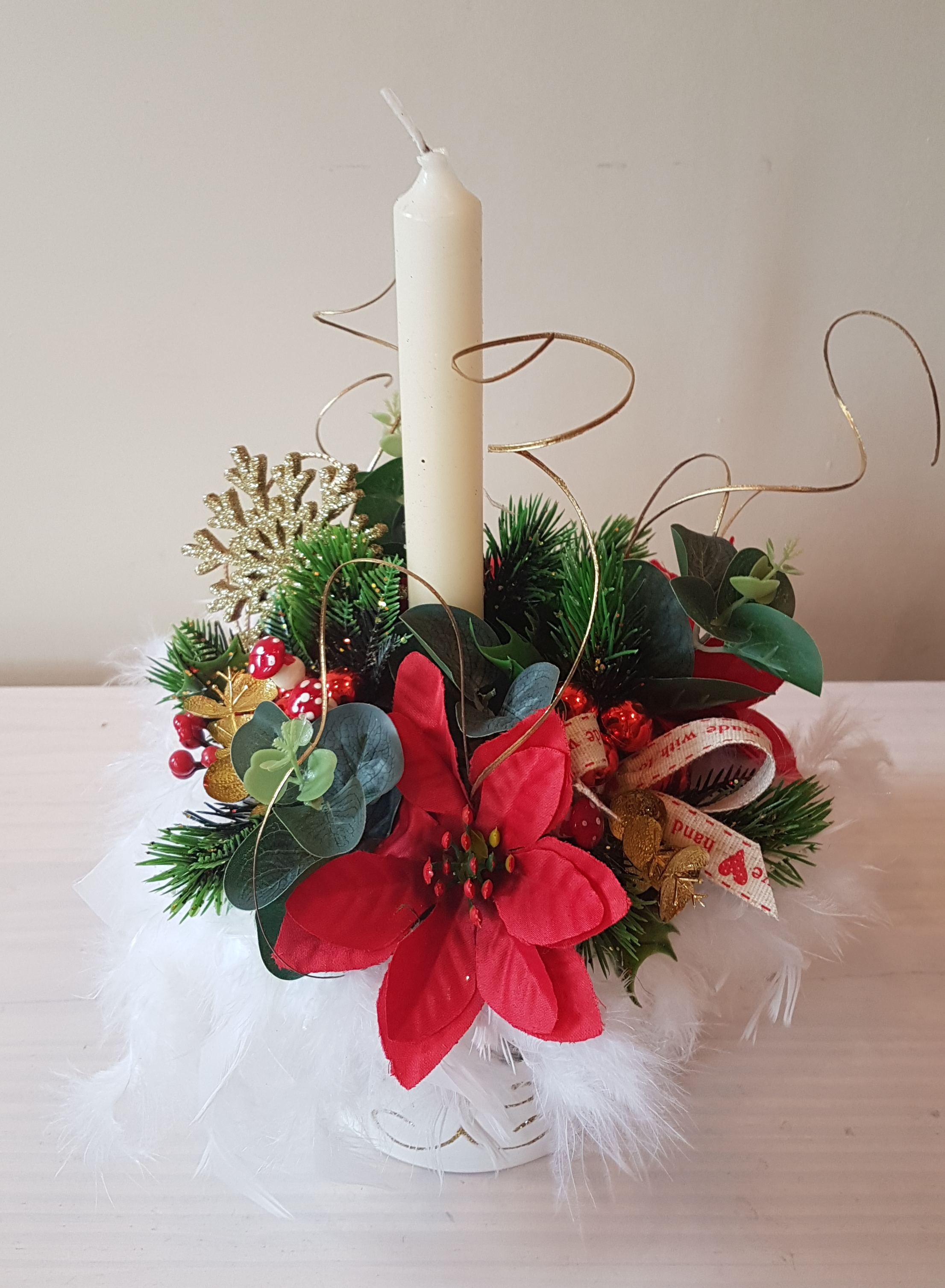 Christmas Candle Arrangement, White